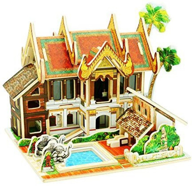 Robotime 3D Wooden Jigsaw Puzzle Diy House Craft Kit Construction Kit House For Kids (Thailand Resort Hotel) F 45(1 Pieces)