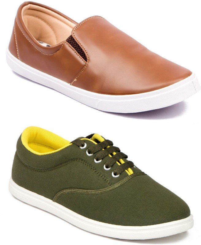ASIAN MR-121 & STATUS Canvas Shoes(Green, Tan)