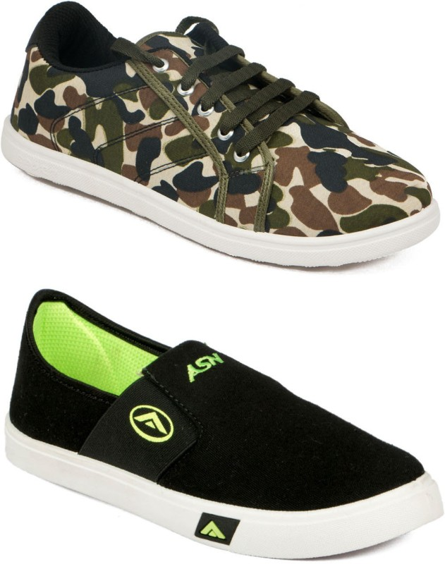 Asian MR-131 & SKYPY Canvas Shoes For Men(Green, Black)