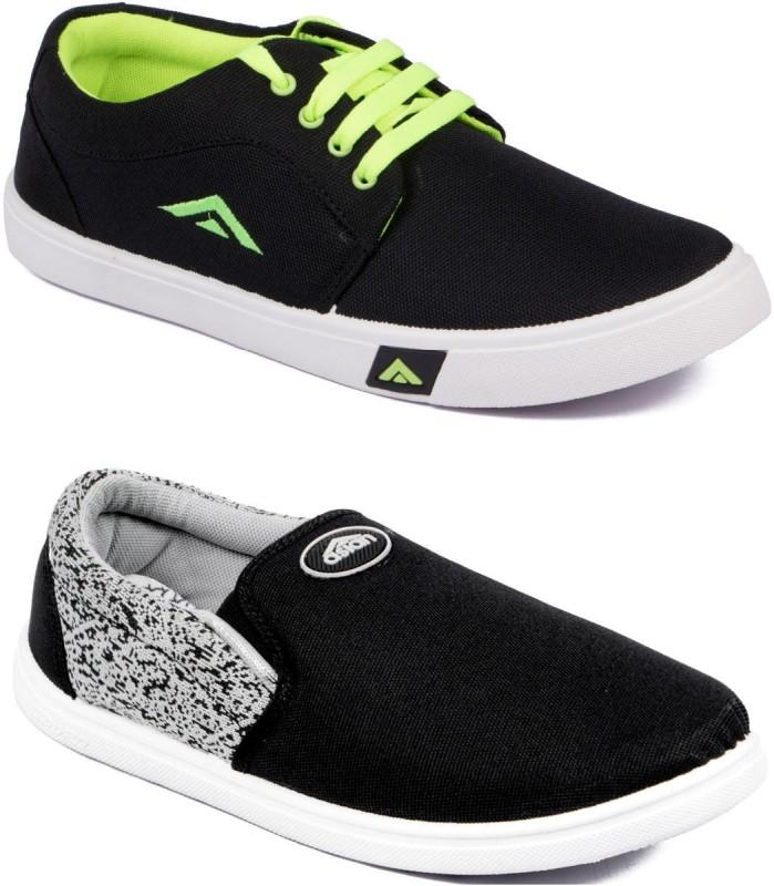 ASIAN ALPHA-22 & TRAINER Canvas Shoes(Black, Black)