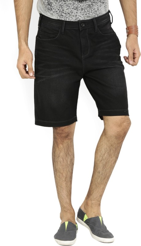 Wrangler Solid Mens Black Denim Shorts