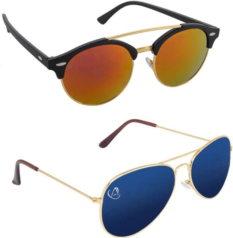 Aventus Round, Aviator Sunglasses(Red, Blue)
