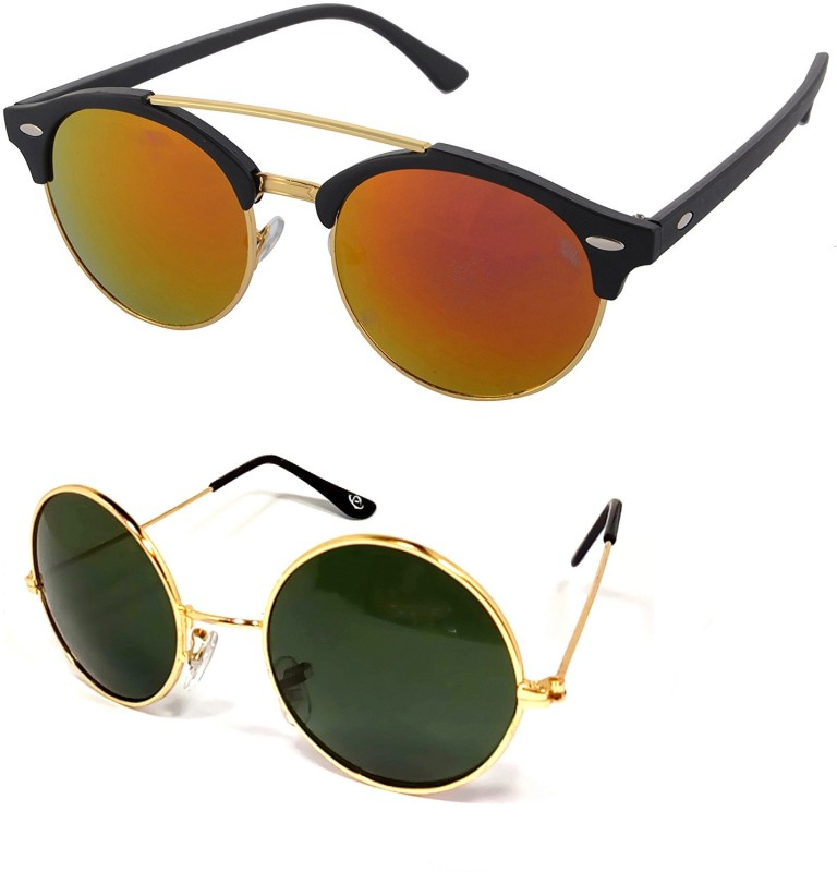 Aventus Round, Clubmaster Sunglasses(Red, Green)