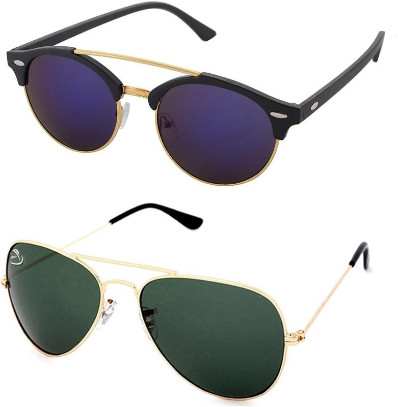 Aventus Round, Aviator Sunglasses(Blue, Green)