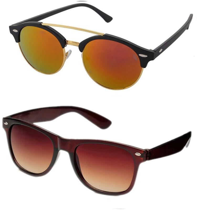 Aventus Round, Wayfarer Sunglasses(Red, Brown)