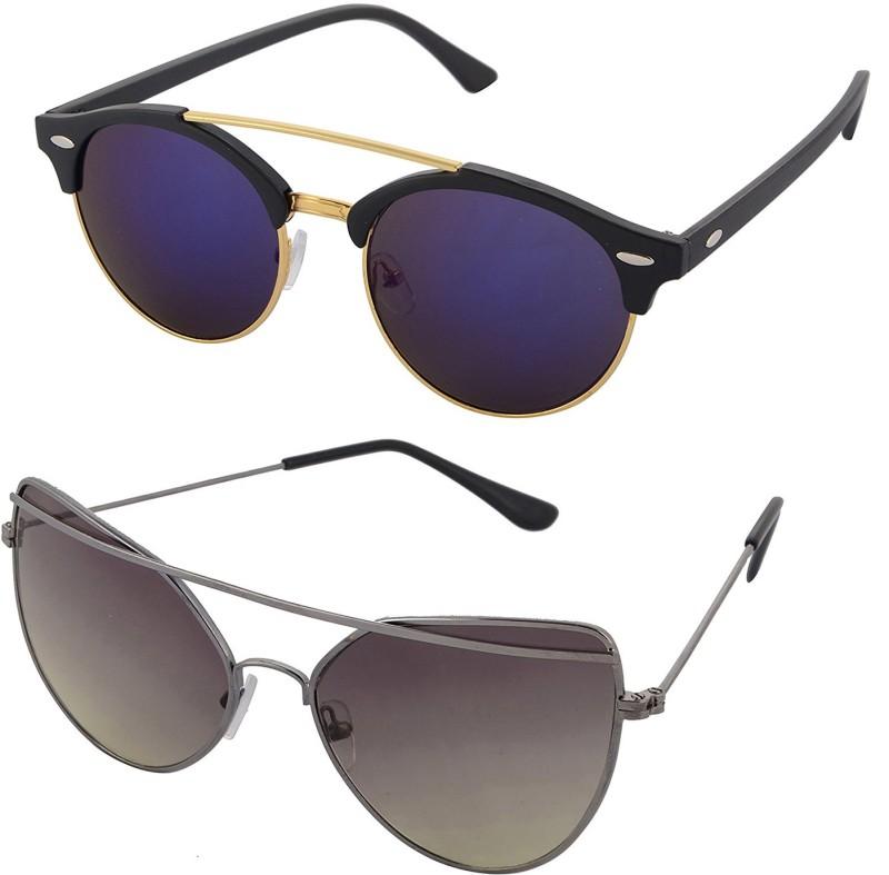 Aventus Round, Cat-eye Sunglasses(Blue, Green)