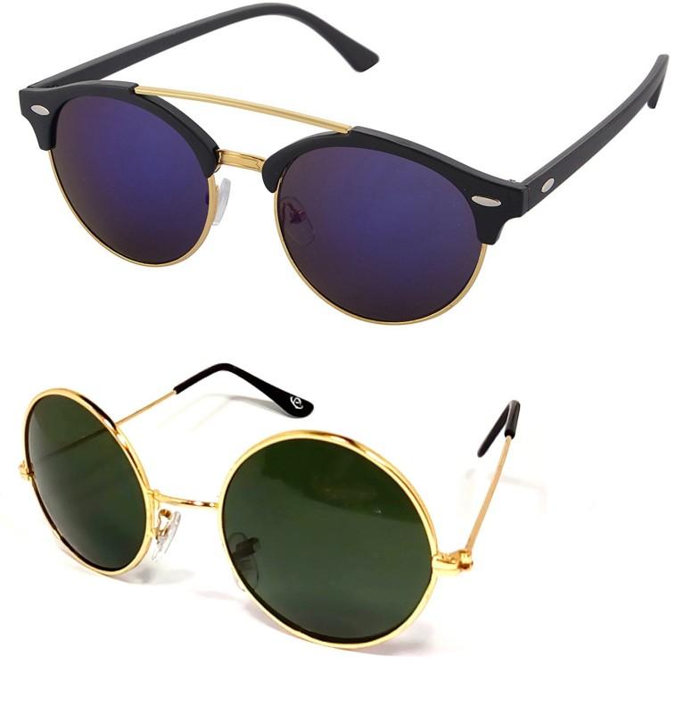 Aventus Round, Clubmaster Sunglasses(Blue, Green)