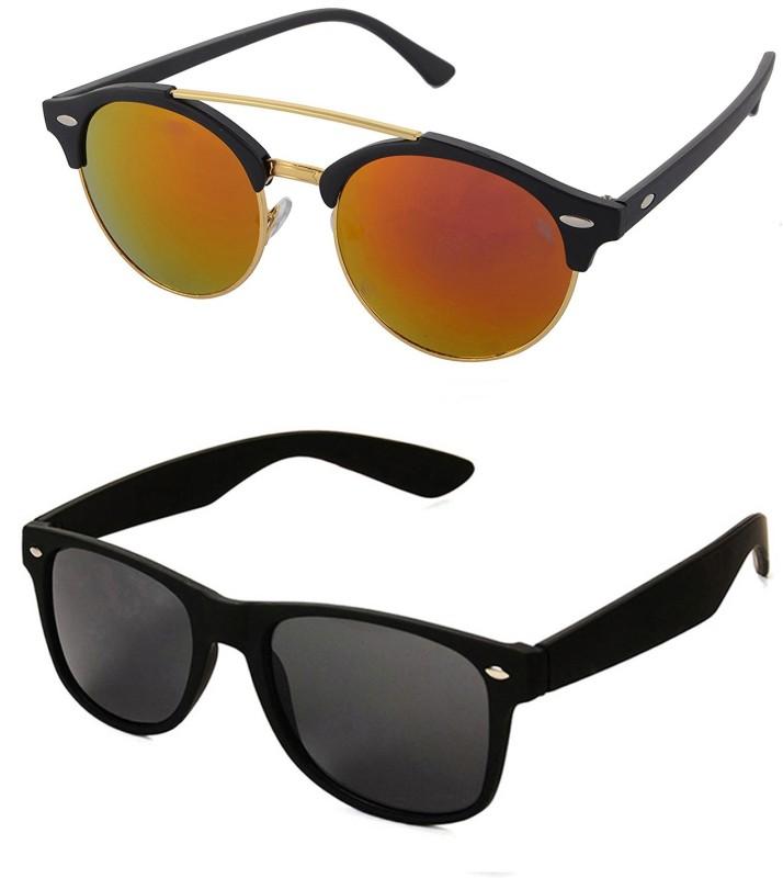 Aventus Round, Wayfarer Sunglasses(Red, Black)