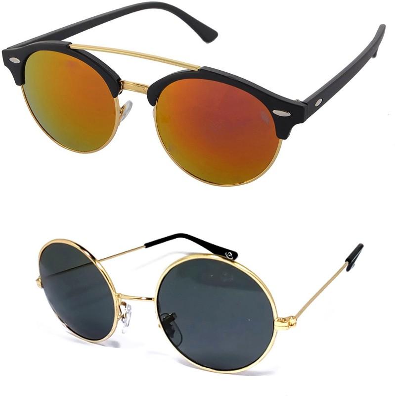 Aventus Round, Clubmaster Sunglasses(Red, Black)