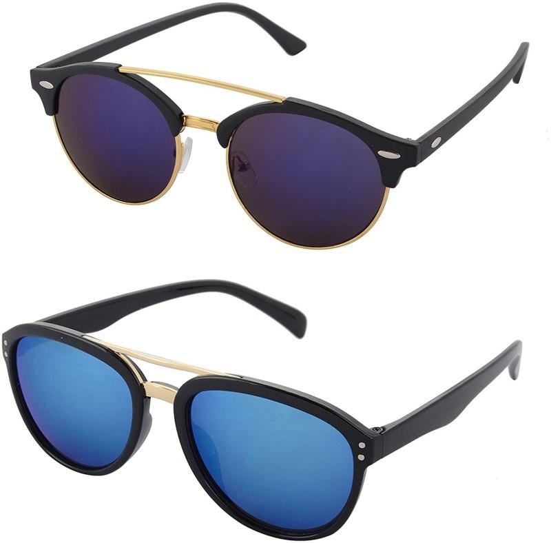Aventus Round, Aviator Sunglasses(Blue)