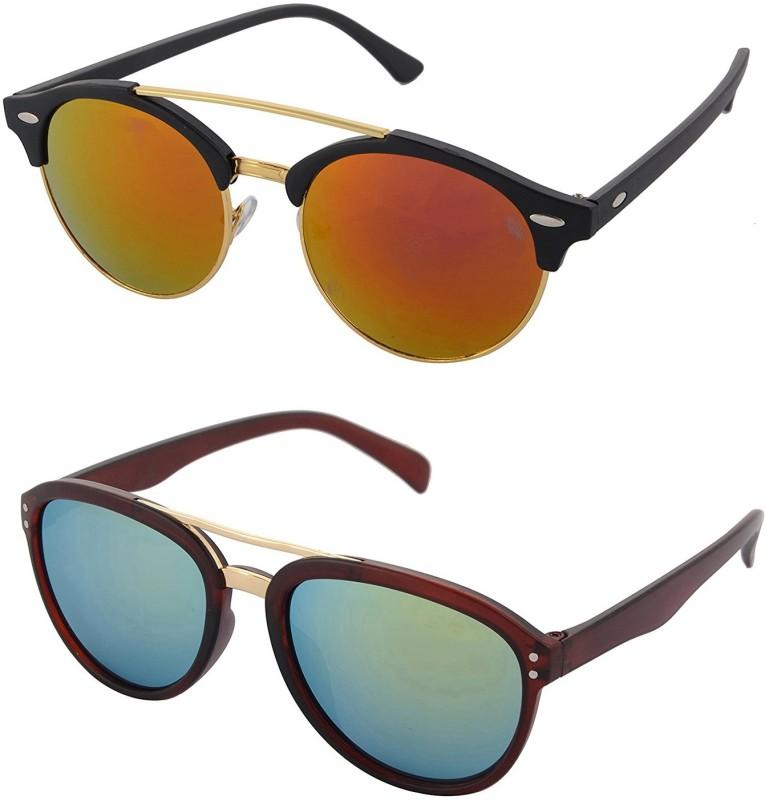 Aventus Round, Aviator Sunglasses(Red, Green)