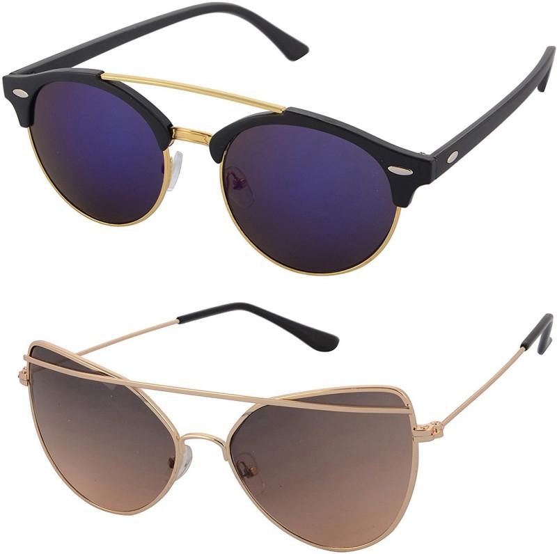 Aventus Round, Cat-eye Sunglasses(Blue, Brown)