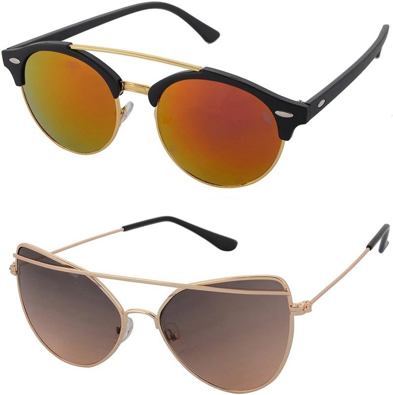 Aventus Round, Cat-eye Sunglasses(Red, Brown)