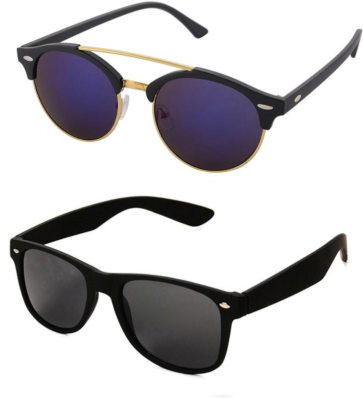 Aventus Round, Wayfarer Sunglasses(Blue, Black)