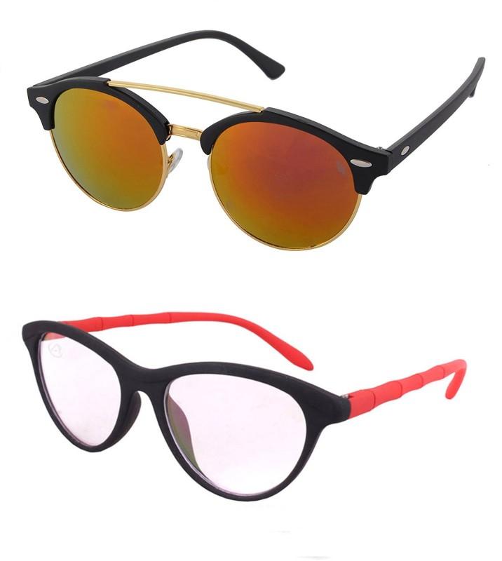 Aventus Round, Cat-eye Sunglasses(Red, Clear)