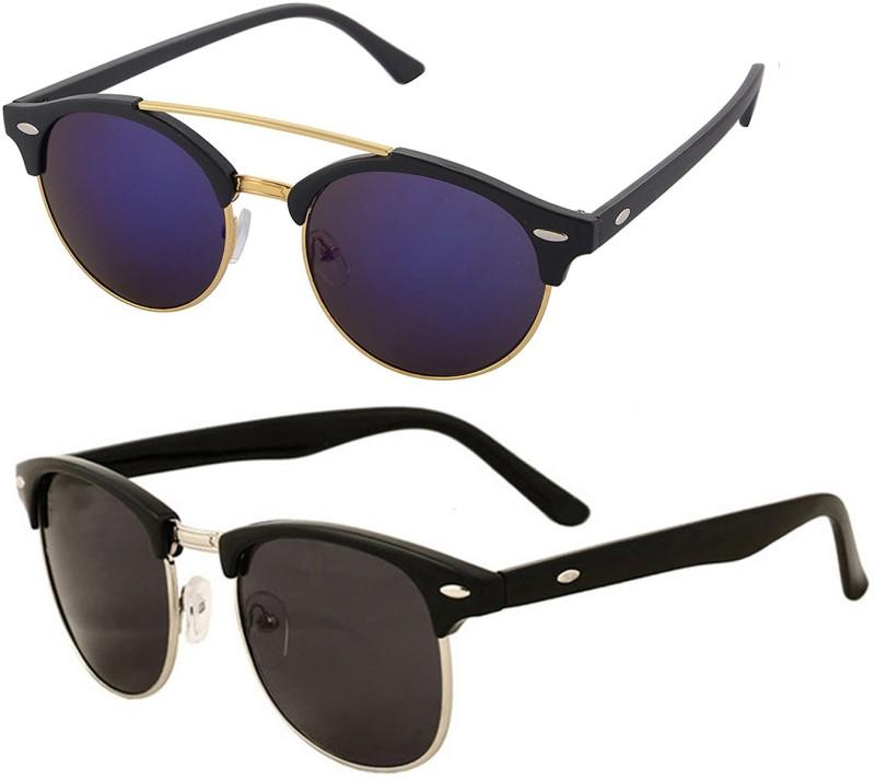Aventus Round, Clubmaster Sunglasses(Blue, Black)