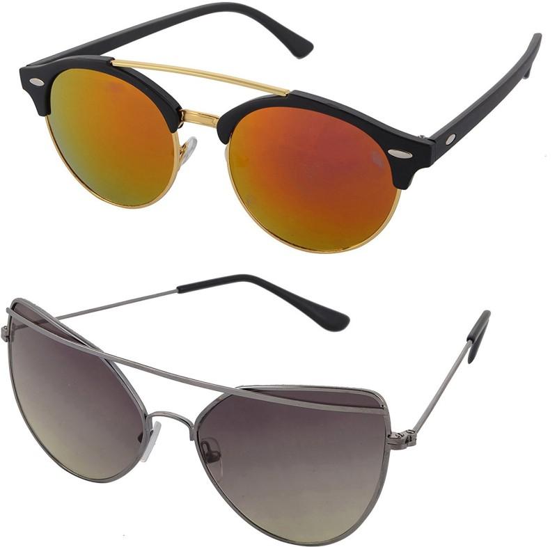 Aventus Round, Cat-eye Sunglasses(Red, Green)