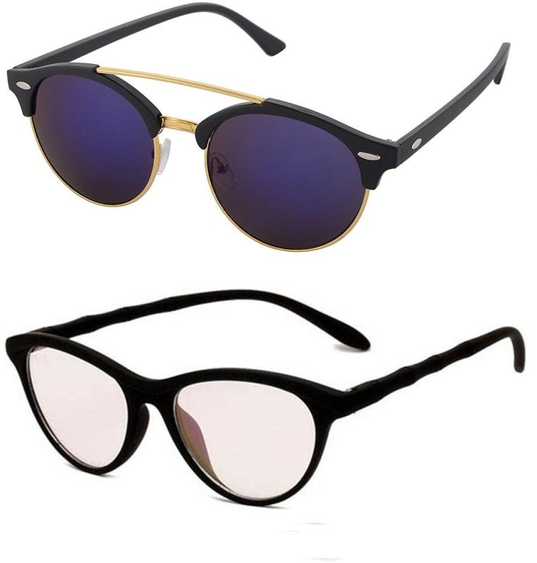 Aventus Round, Cat-eye Sunglasses(Blue, Clear)