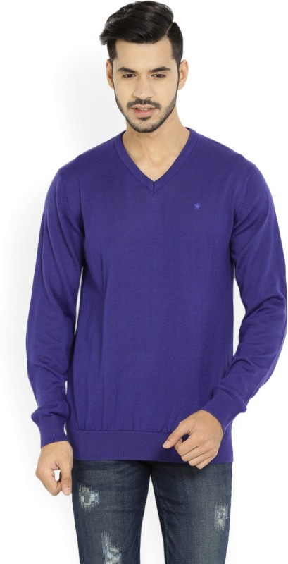 Louis Philippe Solid V-neck Casual Men Blue Sweater