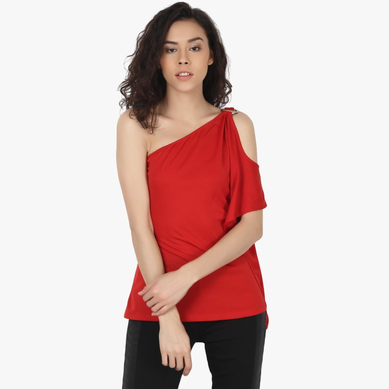 Peptrends Party Sleeveless Solid Women's Red Top