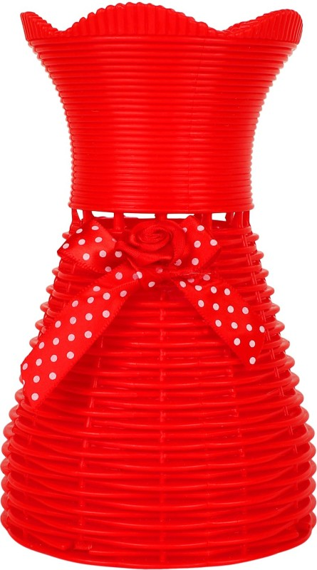Styles Creation Plastic Vase(7 inch, Red)