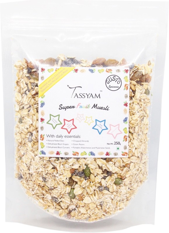 Tassyam Gusto Spicerie Super Fruit Muesli 250 Grams | Rolled Oats + Dehydrated & Dried Fruits by Tassyam(250 g, Pouch)