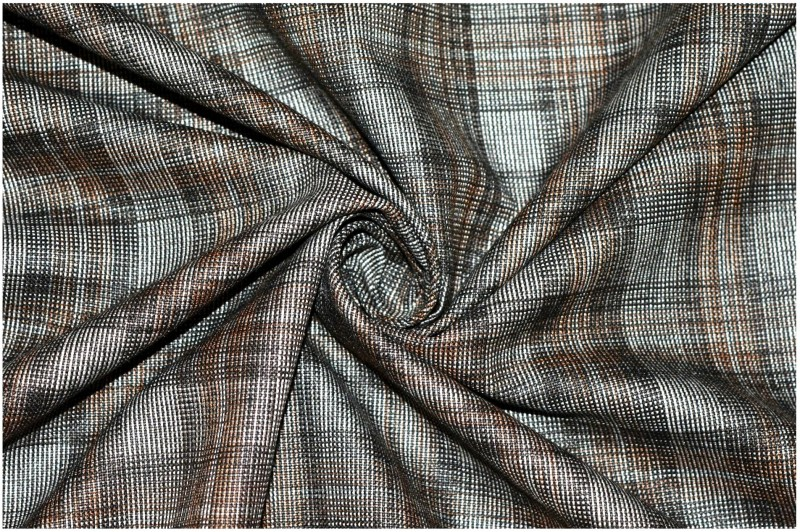 V WALKERS Cotton Polyester Blend Checkered Trouser Fabric(Un-stitched)