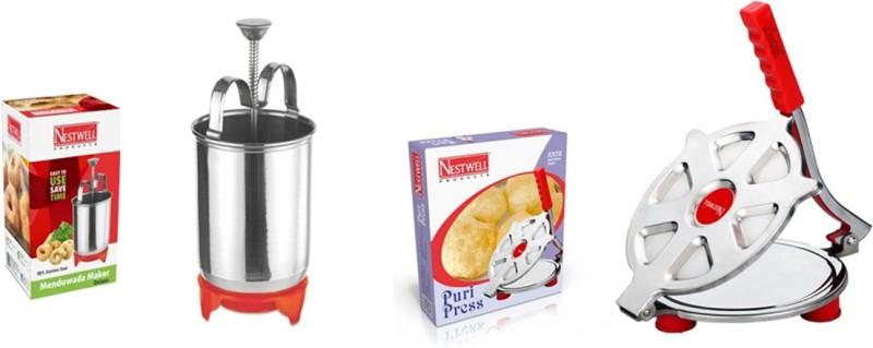 Nestwell MENDUVADA MAKER WITH PURI PRESS COMBO Vada Maker(Silver)