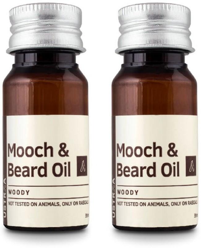 Ustraa By Happily Unmarried Mooch and Beard Oil Woody - Set of 2 Hair Oil(70 ml)