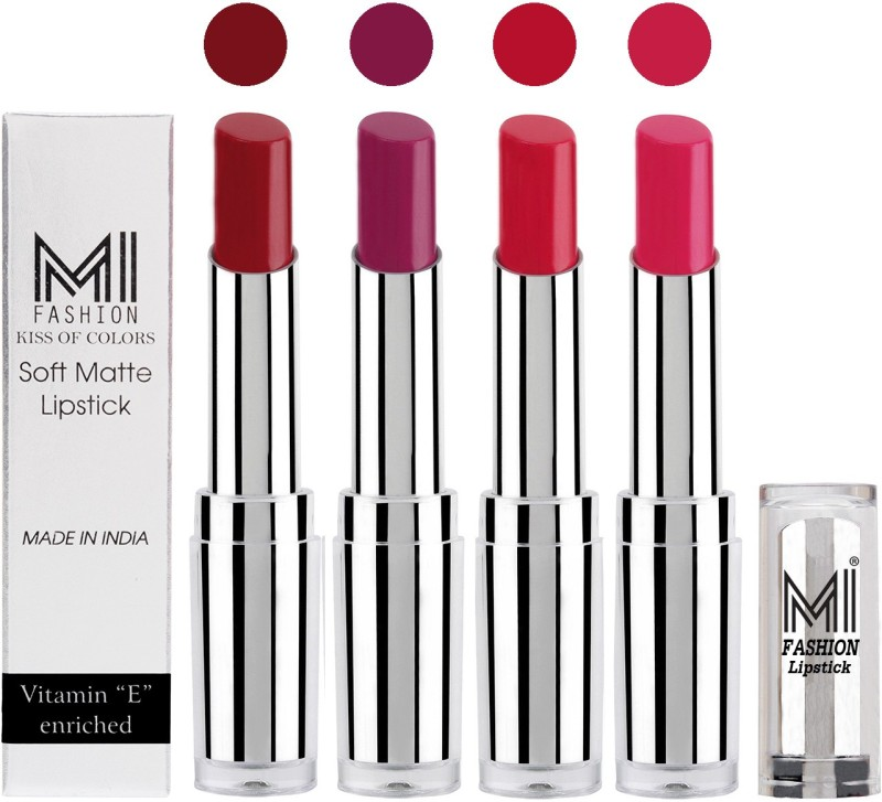 MI Fashion Hot and Bold Soft Creamy Matte Lipstick Combo – Perfect Gift for Her in 4 Vivid Colours(Dry Red,Purple,Red,Pink, 14 g)