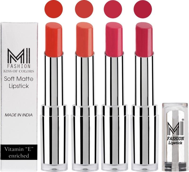 MI Fashion Hot and Bold Soft Creamy Matte Lipstick Combo – Perfect Gift for Her in 4 Vivid Colours(Orange,Coral,Magenta,Mauve, 14 g)