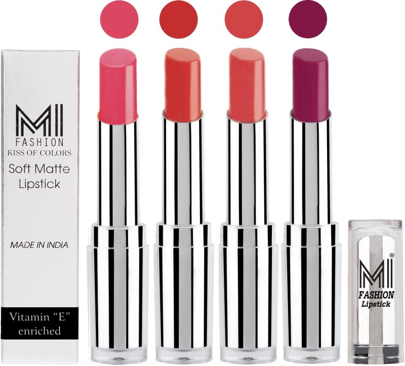 MI Fashion Hot and Bold Soft Creamy Matte Lipstick Combo – Perfect Gift for Her in 4 Vivid Colours(Peach,Orange,Pink,Purple, 14 g)