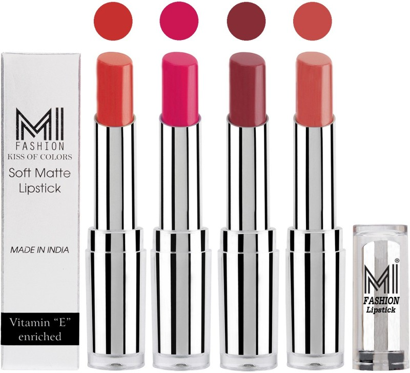 MI Fashion Hot and Bold Soft Creamy Matte Lipstick Combo – Perfect Gift for Her in 4 Vivid Colours(Orange,Rosy Pink,Brown Raisin,Mauve, 14 g)