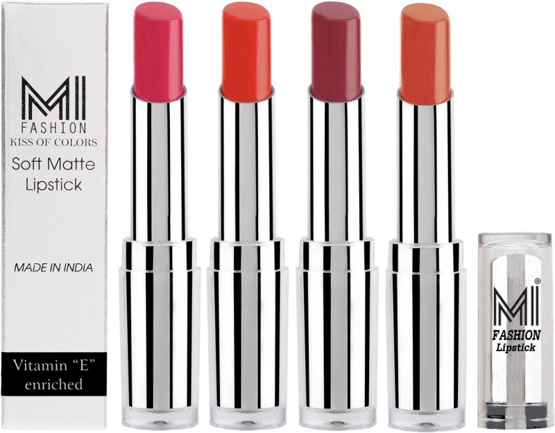 MI Fashion Hot and Bold Soft Creamy Matte Lipstick Combo – Perfect Gift for Her in 4 Vivid Colours(Magenta,Orange,Brown Raisin,Brick Red, 14 g)
