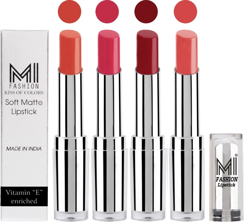 MI Fashion Hot and Bold Soft Creamy Matte Lipstick Combo – Perfect Gift for Her in 4 Vivid Colours(Coral,Magenta,Dry Red,Peach, 14 g)
