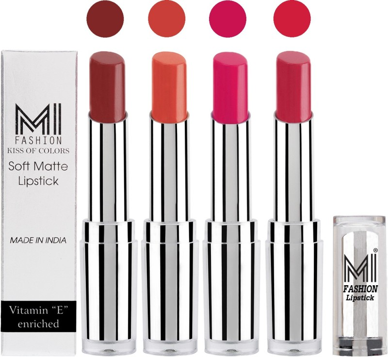 MI Fashion Hot and Bold Soft Creamy Matte Lipstick Combo – Perfect Gift for Her in 4 Vivid Colours(Brown,Coral,Rosy Pink,Mauve, 14 g)