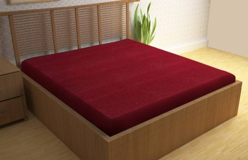 Glassiano Elastic Strap Single Size Waterproof Mattress Protector(Maroon)