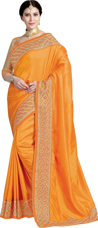 M.S.Retail Embroidered Bollywood Dupion Silk Saree(Orange)