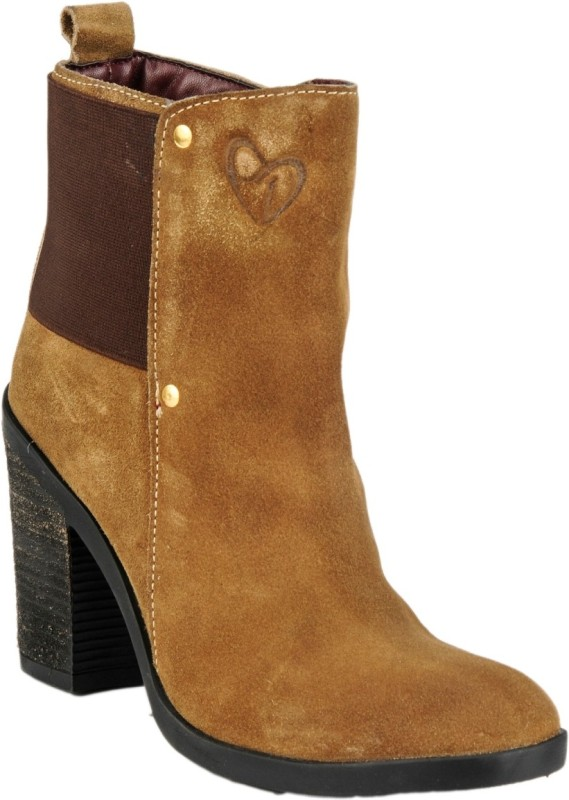 Delize Synthetic Boots For Women(Tan)
