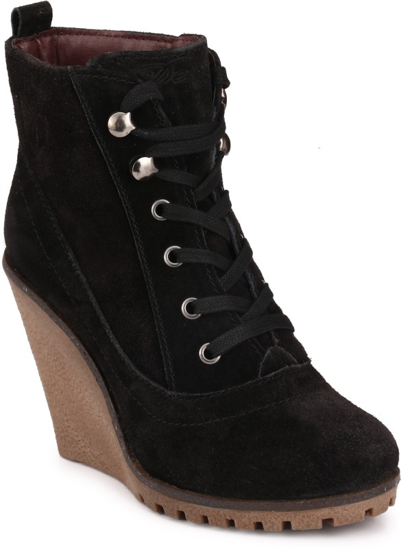 Delize Synthetic Boots For Women(Black)