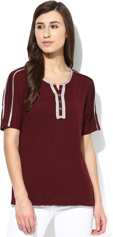 T Shirt Company Solid Women's Round Neck Maroon T-Shirt