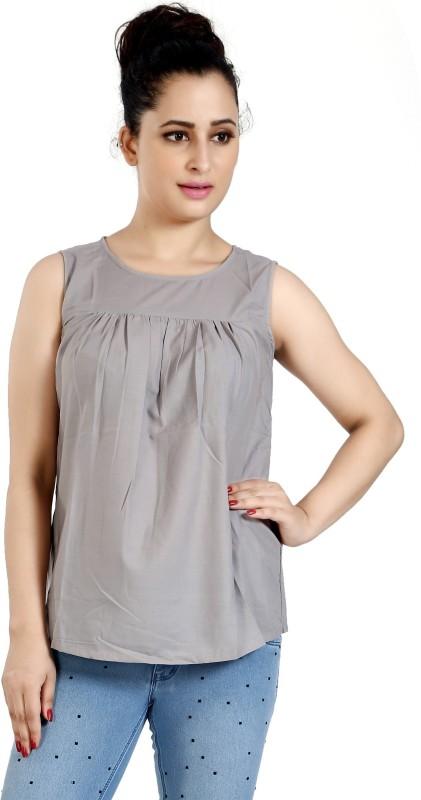 Aatmik Casual Sleeveless Solid Women's Grey Top
