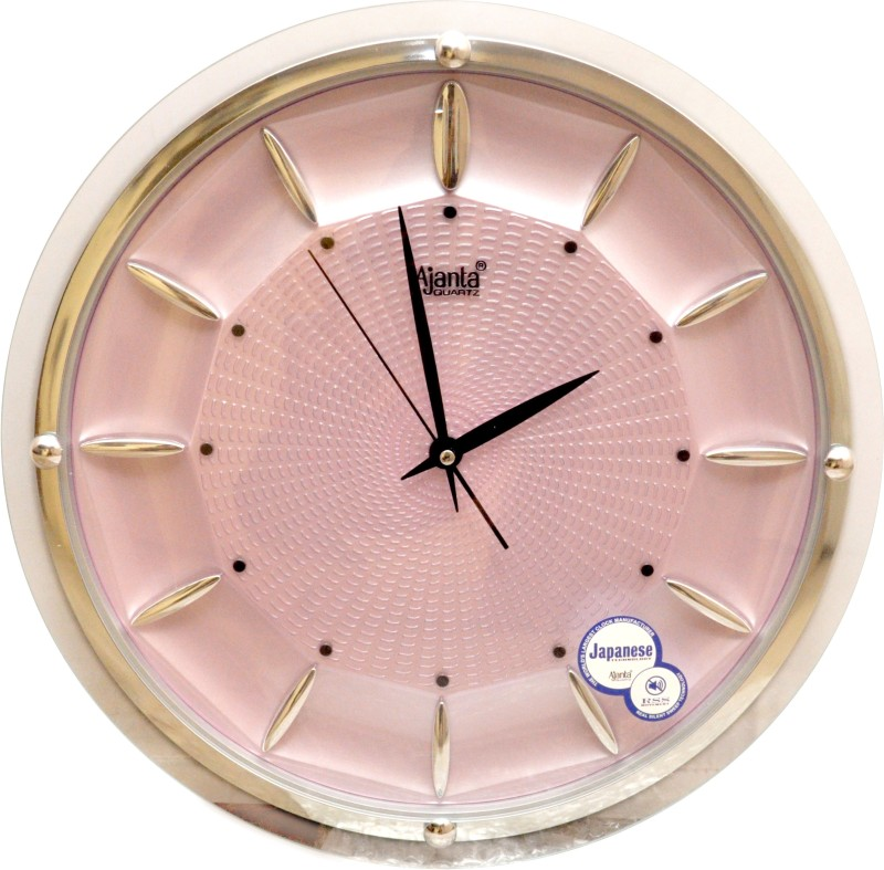 Ajanta Analog 32 cm X 32 cm Wall Clock(White, Pink, With Glass)