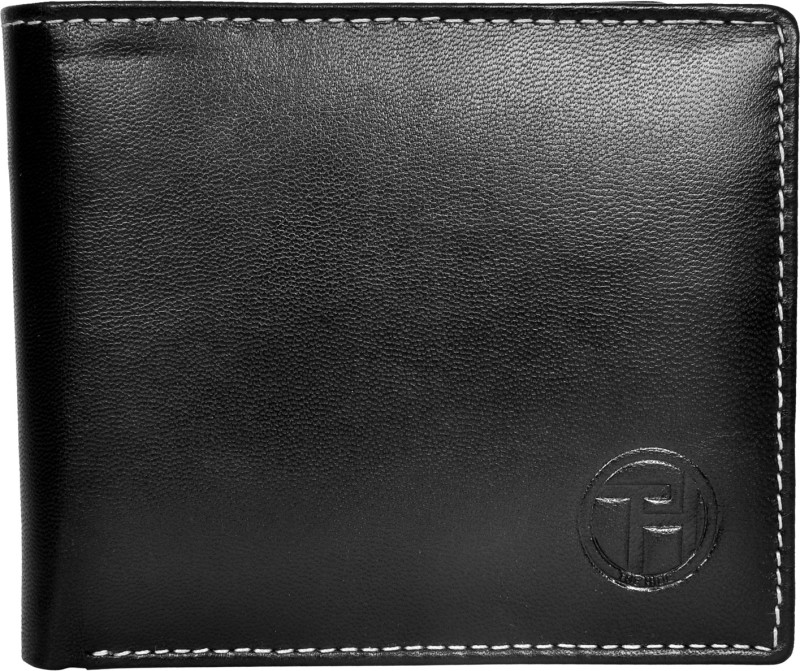 Chandair Men Black Genuine Leather Wallet(9 Card Slots)