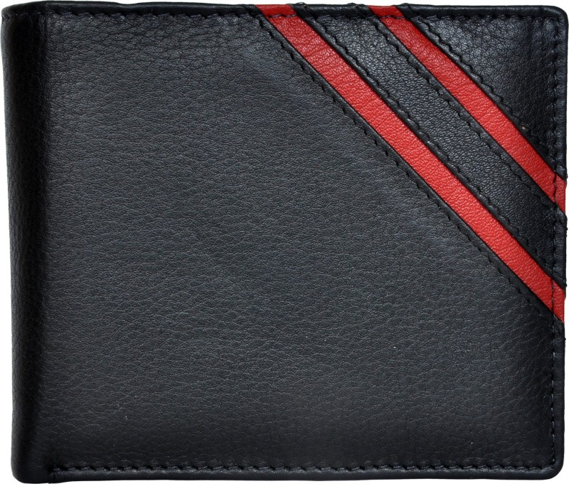 Chandair Men Black Genuine Leather Wallet(9 Card Slots)