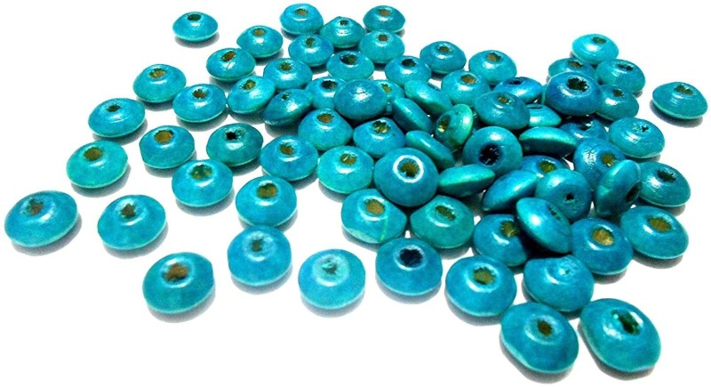 GOELX Disc wooden beads blue for jewellery making/ crafts/ hangings- pack of 100