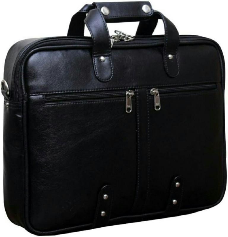 Leatherworld LW00930A Medium Briefcase - For Men & Women(Black)