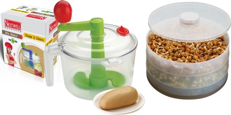 Nestwell Atta Maker WITH Sprout Maker (3 Layers) Plastic Detachable Dough Maker(Multicolor)