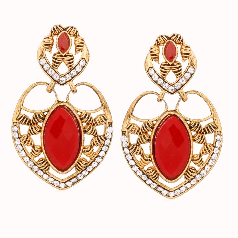 Divastri Red Stone Alloy Drop Earring