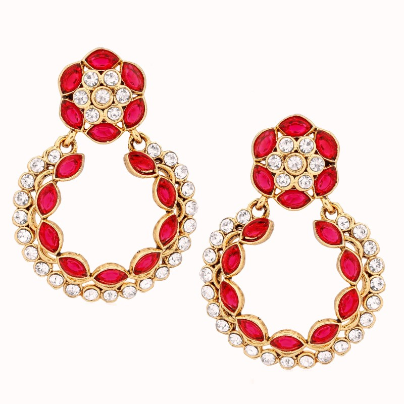Divastri Circular Almond Flower Alloy Drop Earring